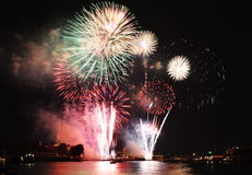 Firework new year countdown at temple of dawn in Thailand Royalty Free Stock Image