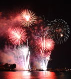 Firework new year countdown at temple of dawn in Thailand Royalty Free Stock Photo