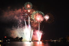 Firework new year countdown at temple of dawn in Thailand Royalty Free Stock Photos