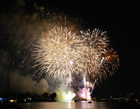 Firework new year countdown at temple of dawn in Thailand Stock Photo