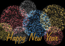 Firework with New Year wishes. Happy New Year lettering on a colorful firework on a black background Stock Photos