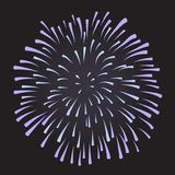 Firework on night background, anniversary bursting fireworks. With sparks. Vector Royalty Free Stock Image