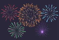 Firework on night background, anniversary bursting fireworks.  Stock Photography