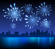 Firework and night city Stock Images
