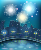 Firework in the night city. Urban landscape with river and bridge Stock Photos