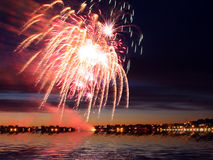 Fireworks on city Royalty Free Stock Image