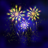Firework at the night sky. Abstract background with colorful firework vector illustration Stock Images