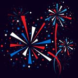 Firework at night splash. Big red, white and blue fireworks at night. eps10 Royalty Free Stock Photography