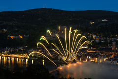 Firework at the old bridge of Heidelberg Stock Photography