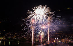 Firework at the old bridge of Heidelberg Stock Photos