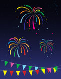 Firework open flags holiday Stock Photography