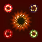 Firework ornament set. Illustration, dark background with firework show flowers. Festive, bright firework for collage and design brochures, poster, wrapping Stock Photos