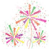 Firework outline. Big green and orange fireworks on white background Royalty Free Stock Photos