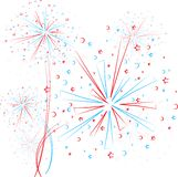 Firework outline. Big red and blue fireworks on white background. eps10 Stock Photography