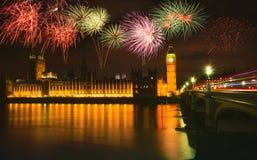Firework over Big Ben at night, London. UK Stock Photos