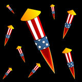 Firework over black. Firework devices isolated over black square background Stock Photography