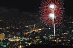 Firework over Bangkok, Thailand Royalty Free Stock Image