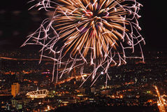 Firework over Bangkok, Thailand Royalty Free Stock Photography