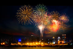 Firework over the city Royalty Free Stock Photography