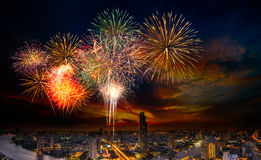 Firework over the city Royalty Free Stock Photos