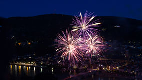 Firework over the city of Heidelberg Stock Image