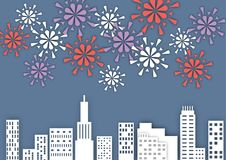 Firework over the city at night, paper art style vector. Illustration Stock Photography