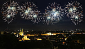 Firework over city at night Royalty Free Stock Photography