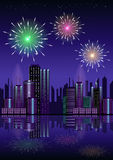 Firework over city at night with reflection in water. Firework over city at night with reflection in the water Royalty Free Stock Image