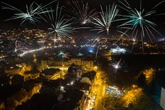 Firework over city Veliko Tarnovo Royalty Free Stock Photos