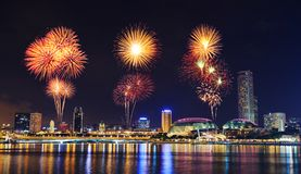 Firework Over Cityscape Of Singapore City At Night Stock Image