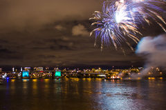 Firework over Columbia River Royalty Free Stock Photos