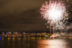 Firework over Columbia River Stock Image