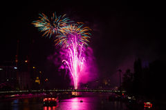 Firework over Frankfurt Stock Photography