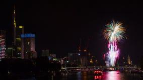 Firework over Frankfurt Royalty Free Stock Image