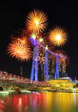 Firework over the Helix Bridge, urban landscape of Singapore Royalty Free Stock Images