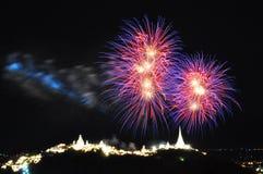 Firework over Khao Wang Palace, Petchaburi, Thailand Royalty Free Stock Images