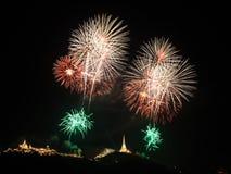 Firework over Khao Wang Palace, Petchaburi Royalty Free Stock Photo