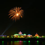 Firework. Over the Khong River royalty free stock images
