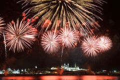 Firework over Kremlin in kazan, Russia Stock Photos