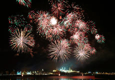 Firework over Kremlin in Russia Stock Images