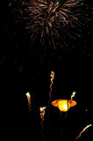 Firework over lantern Royalty Free Stock Images