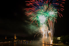Firework over the Main river Royalty Free Stock Photo