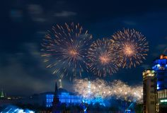 Firework over Moscow Royalty Free Stock Images