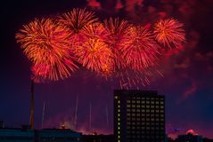 Firework over Moscow. Russia Royalty Free Stock Photography