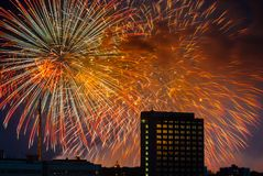 Firework over Moscow. Russia Stock Images