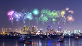 Firework over Pattaya city, Chonburi, Thialand. Beautiful firework over Pattaya city, Chonburi, Thialand Stock Image