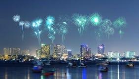 Firework over Pattaya city, Chonburi, Thialand. Beautiful firework over Pattaya city, Chonburi, Thialand Stock Photography