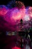 Firework over Putrajaya lake Stock Photography