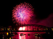 Firework over the Rhine river Stock Photos