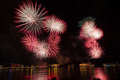 Firework over the rhine river Royalty Free Stock Image